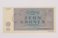 1996.12.4 back Theresienstadt ghetto-labor camp scrip, 10 kronen note  Click to enlarge