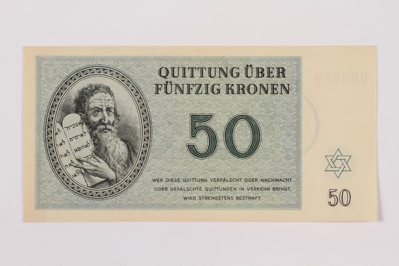 1996.12.5 front Theresienstadt ghetto-labor camp scrip, 50 kronen note