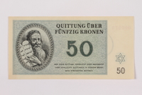 1996.12.5 front Theresienstadt ghetto-labor camp scrip, 50 kronen note  Click to enlarge