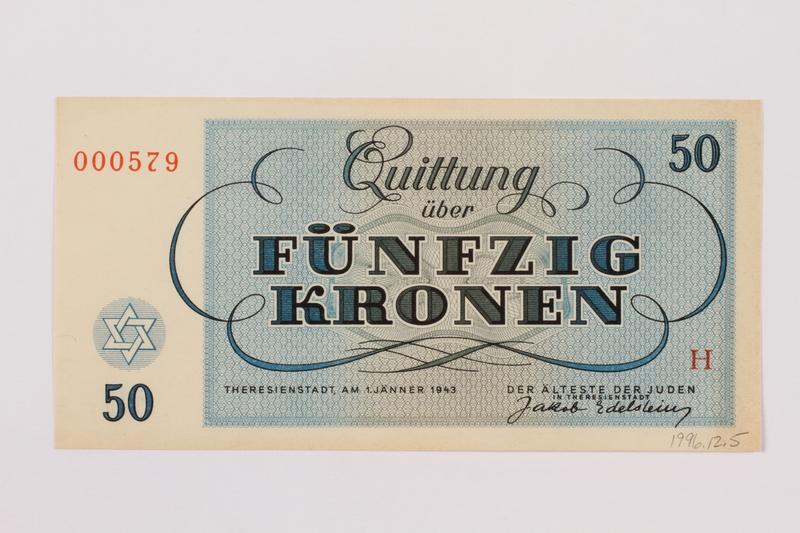 1996.12.5 back Theresienstadt ghetto-labor camp scrip, 50 kronen note