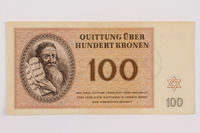 1996.12.6 front Theresienstadt ghetto-labor camp scrip, 100 kronen note  Click to enlarge