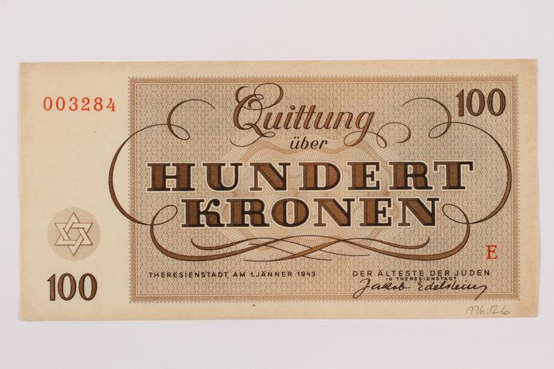 1996.12.6 back Theresienstadt ghetto-labor camp scrip, 100 kronen note