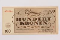 1996.12.6 back Theresienstadt ghetto-labor camp scrip, 100 kronen note  Click to enlarge