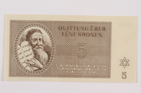 1996.13.1 front Theresienstadt ghetto-labor camp scrip, 1 krone note  Click to enlarge
