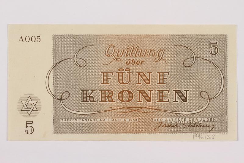 1996.13.1 back Theresienstadt ghetto-labor camp scrip, 1 krone note