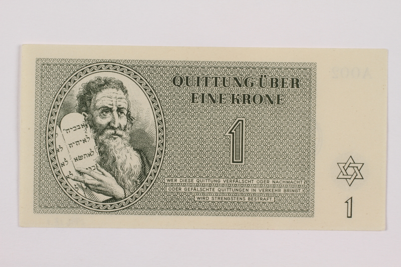 1996.13.2 front Theresienstadt ghetto-labor camp scrip, 5 kronen note