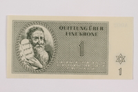 1996.13.2 front Theresienstadt ghetto-labor camp scrip, 5 kronen note  Click to enlarge