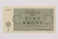 1996.13.2 back Theresienstadt ghetto-labor camp scrip, 5 kronen note  Click to enlarge