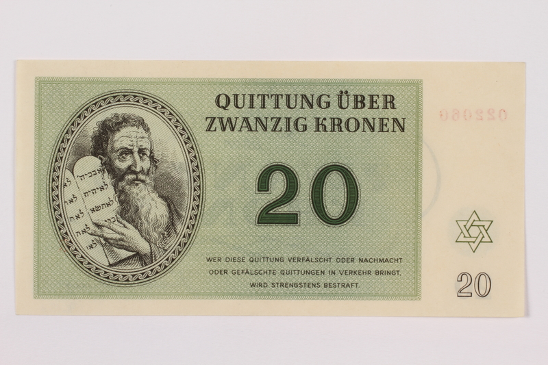 1996.13.3 front Theresienstadt ghetto-labor camp scrip, 20 kronen note