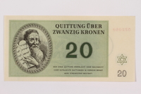 1996.13.3 front Theresienstadt ghetto-labor camp scrip, 20 kronen note  Click to enlarge