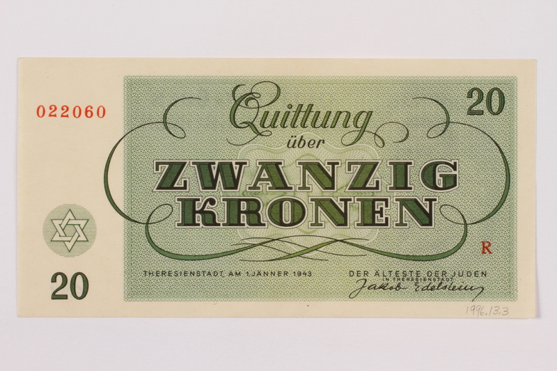 1996.13.3 back Theresienstadt ghetto-labor camp scrip, 20 kronen note