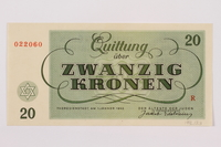 1996.13.3 back Theresienstadt ghetto-labor camp scrip, 20 kronen note  Click to enlarge