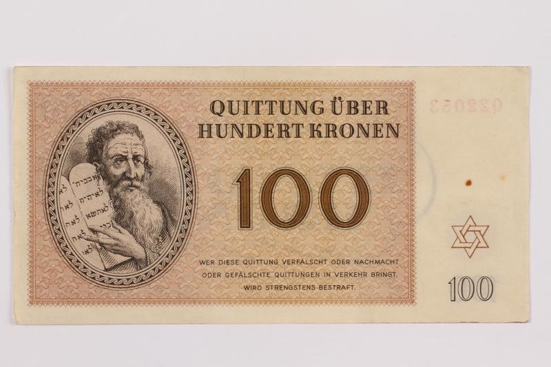 1996.13.4 front Theresienstadt ghetto-labor camp scrip, 100 kronen note