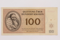 1996.13.4 front Theresienstadt ghetto-labor camp scrip, 100 kronen note  Click to enlarge