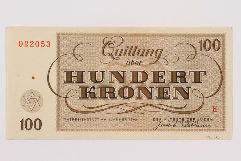 1996.13.4 back Theresienstadt ghetto-labor camp scrip, 100 kronen note