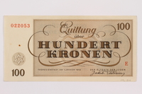 1996.13.4 back Theresienstadt ghetto-labor camp scrip, 100 kronen note  Click to enlarge