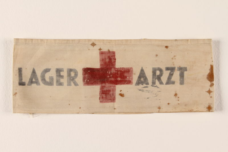 1996.146.5 front Armband worn by a prisoner in a slave labor camp