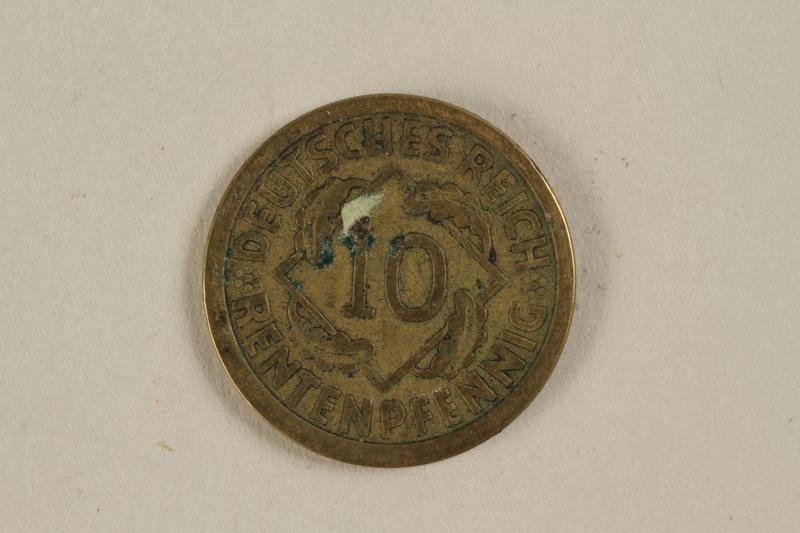 1996.163.4 back Fake German coin, 10 Reichpfennig 1994