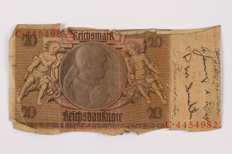 1996.163.5 front Germany, 20 mark note