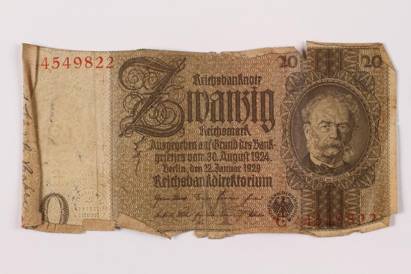 1996.163.5 back Germany, 20 mark note