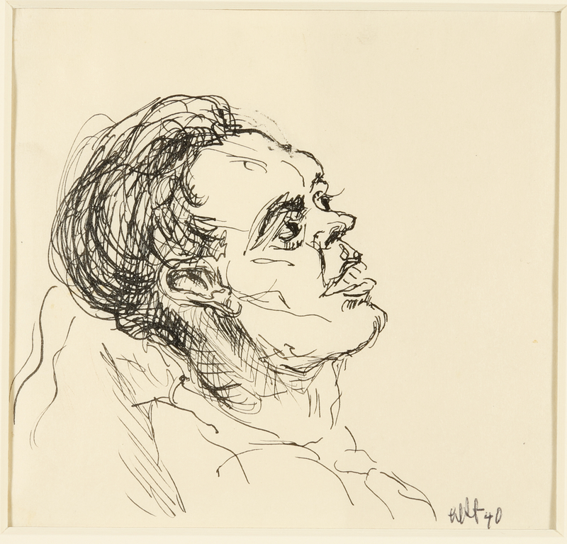 1988.1.46 front Portrait of sick man leaning back on pillow by a German Jewish internee