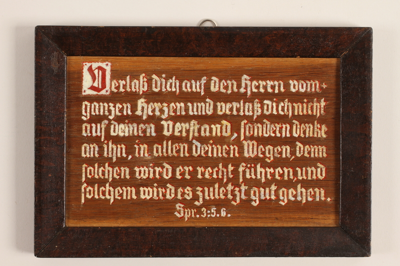 1989.314.4 front Wooden sign with Biblical verse made in labor camp by a Jehovah's Witness