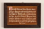 Wooden sign with Biblical verse made in labor camp by a Jehovah's Witness