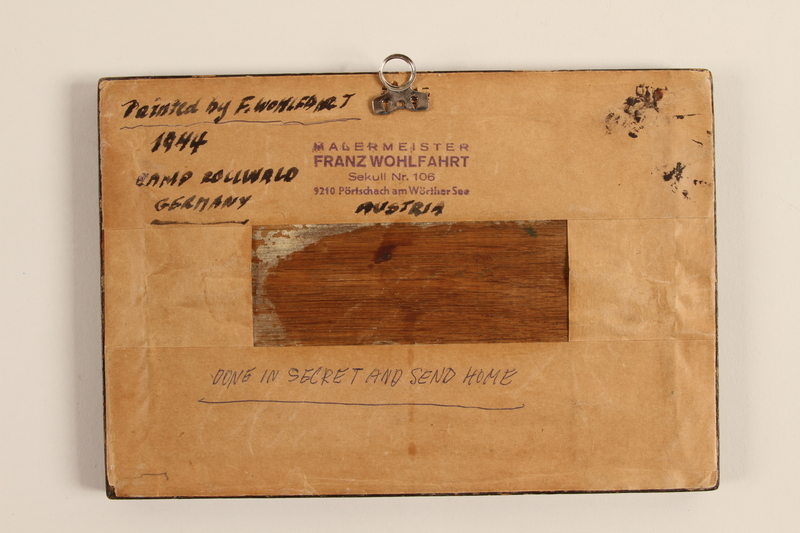 1989.314.4 back Wooden sign with Biblical verse made in labor camp by a Jehovah's Witness