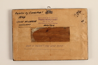 1989.314.4 back Wooden sign with Biblical verse made in labor camp by a Jehovah's Witness  Click to enlarge