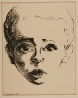 1989.318.1.1 front Portrait of a young boy who did not survive drawn postwar by his mother  Click to enlarge