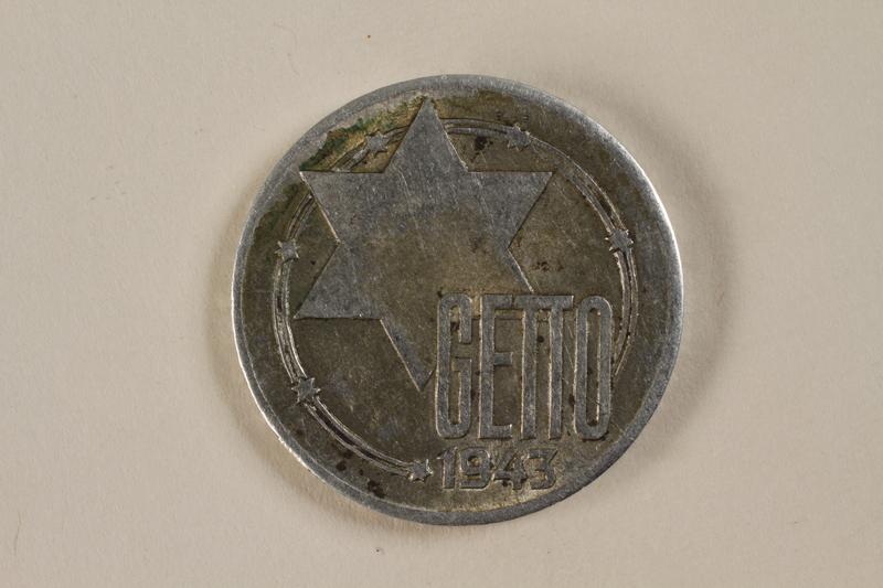 1995.27.6 front Łódź (Litzmannstadt) ghetto scrip, 20 mark coin