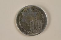 1995.27.6 front Łódź (Litzmannstadt) ghetto scrip, 20 mark coin  Click to enlarge
