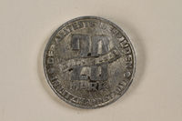 1995.27.6 back Łódź (Litzmannstadt) ghetto scrip, 20 mark coin  Click to enlarge