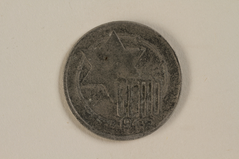 1995.27.7 front Łódź (Litzmannstadt) ghetto scrip, 10 mark coin