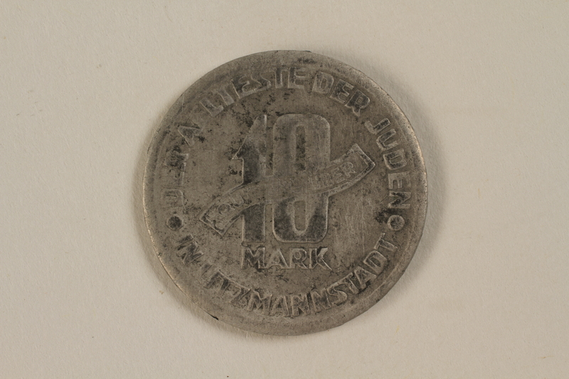 1995.27.7 back Łódź (Litzmannstadt) ghetto scrip, 10 mark coin
