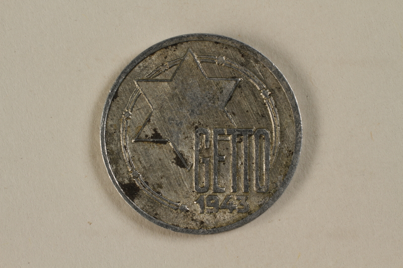 1995.27.8 front Łódź (Litzmannstadt) ghetto scrip, 5 mark coin