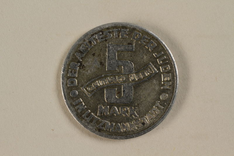 1995.27.8 back Łódź (Litzmannstadt) ghetto scrip, 5 mark coin