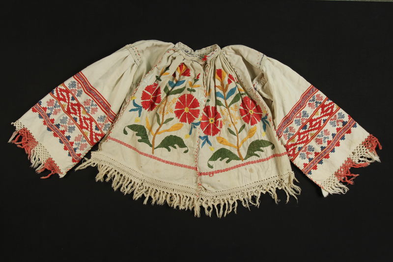 1989.319.5 front Shirt worn by a Romanian Romani woman