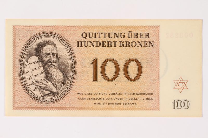 1996.33.10 front Theresienstadt ghetto-labor camp scrip, 100 kronen note