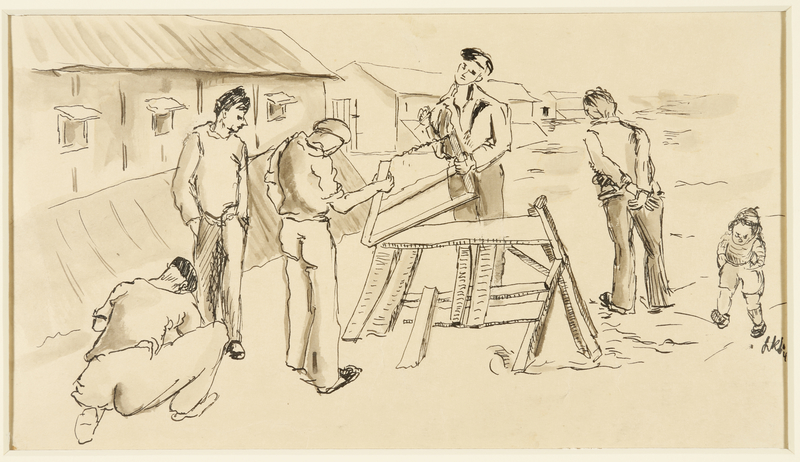 1988.1.48 front Drawing of men sawing wood outdoors by a German Jewish internee