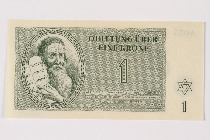 1996.33.4 front Theresienstadt ghetto-labor camp scrip, 1 krone note