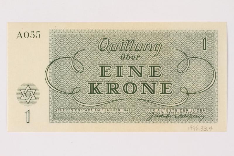 1996.33.4 back Theresienstadt ghetto-labor camp scrip, 1 krone note