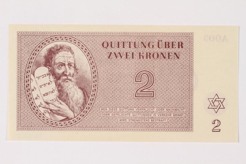 1996.33.5 front Theresienstadt ghetto-labor camp scrip, 2 kronen note