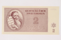 1996.33.5 front Theresienstadt ghetto-labor camp scrip, 2 kronen note  Click to enlarge