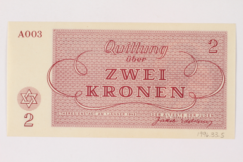 1996.33.5 back Theresienstadt ghetto-labor camp scrip, 2 kronen note