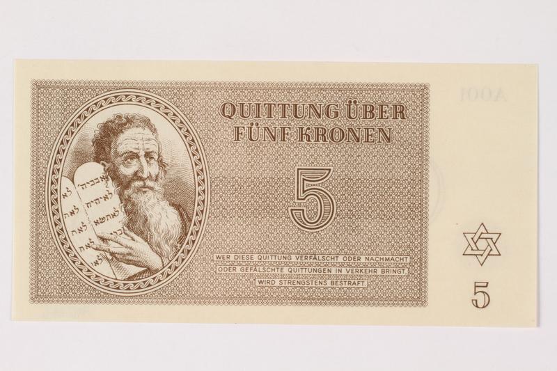 1996.33.6 front Theresienstadt ghetto-labor camp scrip, 5 kronen note