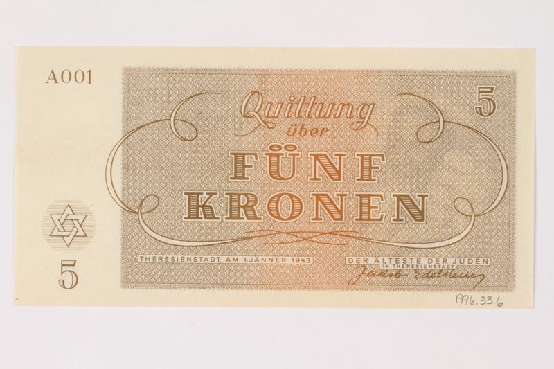 1996.33.6 back Theresienstadt ghetto-labor camp scrip, 5 kronen note