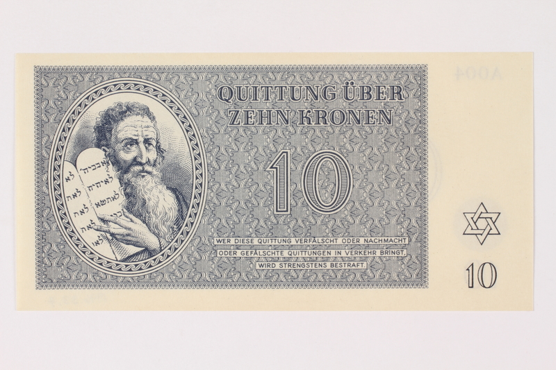 1996.33.7 front Theresienstadt ghetto-labor camp scrip, 10 kronen note