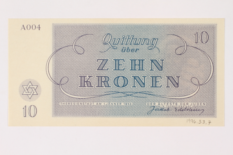 1996.33.7 back Theresienstadt ghetto-labor camp scrip, 10 kronen note
