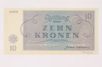 1996.33.7 back Theresienstadt ghetto-labor camp scrip, 10 kronen note  Click to enlarge